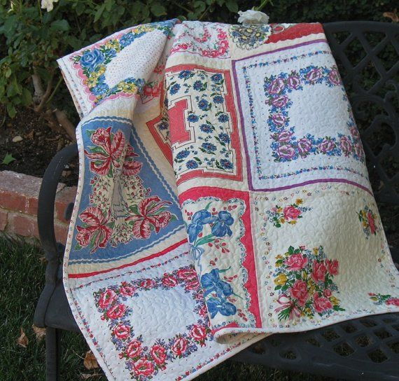 Oh, my.  Vintage handkerchiefs stipple quilted. What a loving way to reuse these lovelies, particularly if they're from a loved one. This project and a number of other ways to upcycle handkerchiefs and scarves are at the Dishfunctional Designs blog.