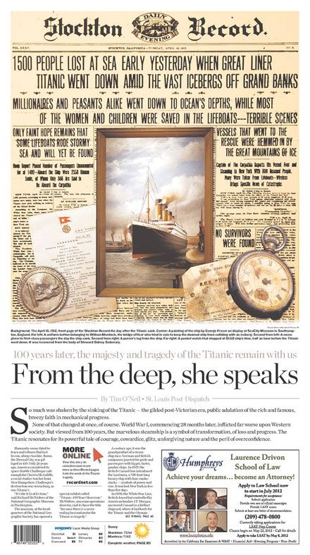 Titanic front pages honor 100th anniversary of ship sinking.