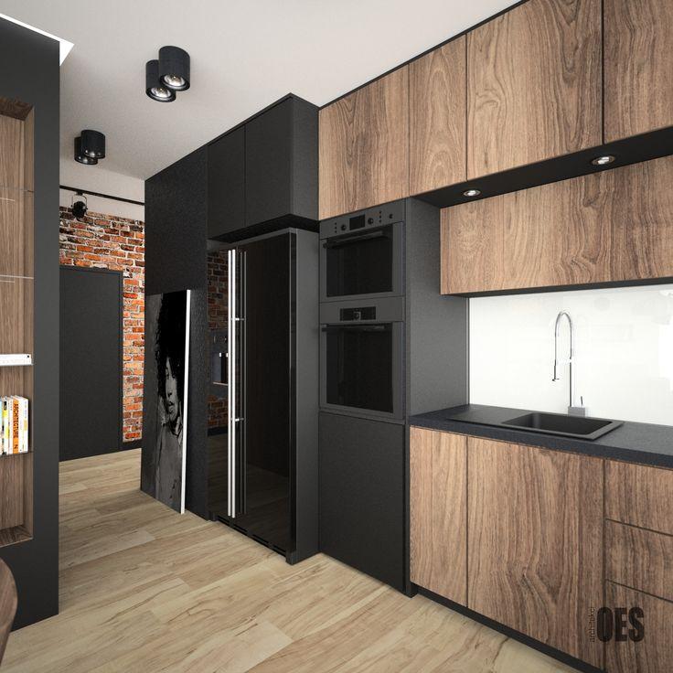 #czarnakuchnia #blackkitchen nowoczesna minimalistyczna kuchnia z drewna i czarnych elementów wykończeniowych