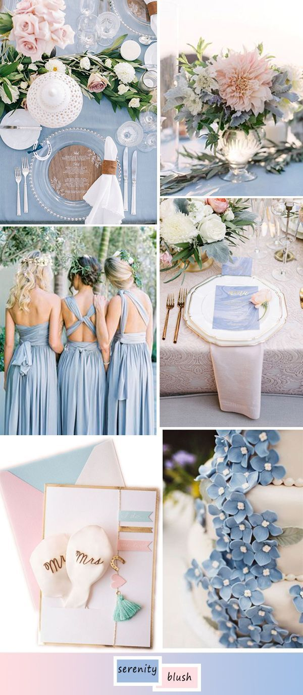 French blue wedding color palette inspiration bluewedding 2016 best wedding color ideas in serenity and blush junglespirit Image collections