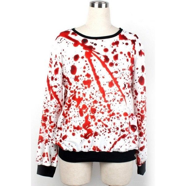 Horrible Blood Sweatshirt (40 BRL) ❤ liked on Polyvore featuring tops, hoodies, sweatshirts, white, long sleeve tops, patterned tops, patterned sweatshirt, white sweatshirt and white long sleeve top