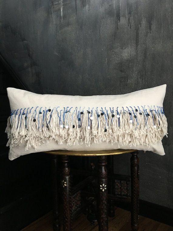 Blue Ombre Moroccan Inspired Tassel Fringe Pillow Indigo Boho Pillow Brass Coins Handira