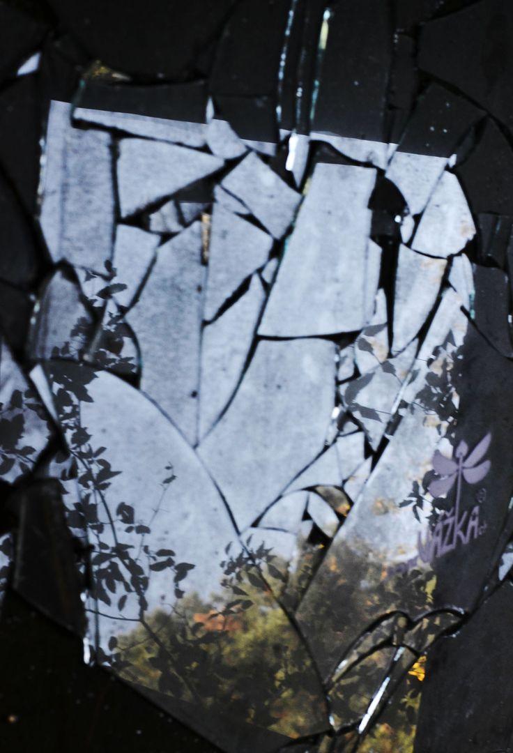 Broken glass from abadoned hotel in Brno.
