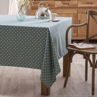 Nappe carrée 100% coton enduit teflon anti-tâches pois blanc 150x150cm ANNA