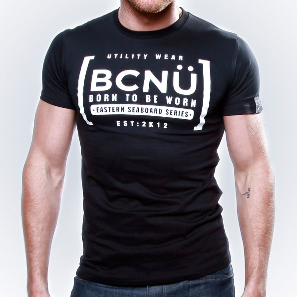 Afini-TEE Black  Born To Be Worn this 100% Cotton UtiliTEE is bold and a real standout. Loose fitting, not tight and extra comfortable. Dress it up, dress it down, wear it in, wear it out. www.bcnuclothing.com