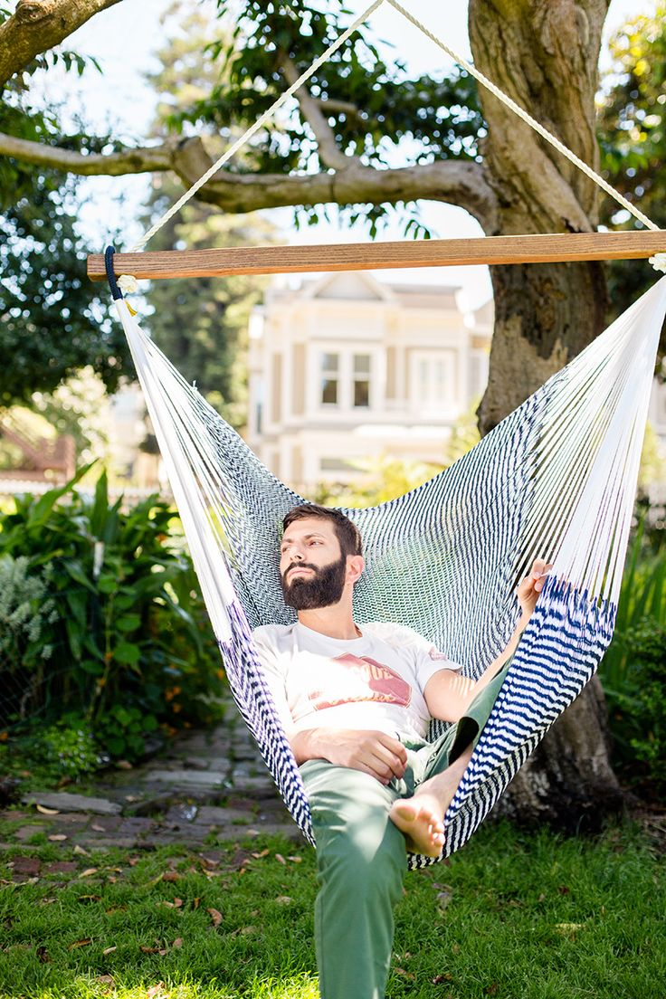 Classic Hanging Chair Hammock. Shop for nautical eco-luxe hammocks! Seersucker Stripes in Navy Blue + Bright White | Capacity: 330 lbs | Free Shipping!