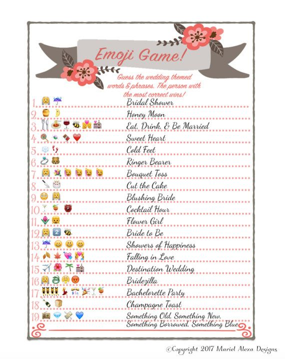 Bridal Shower Emoji Game Fun Unique Games Diy Pdf