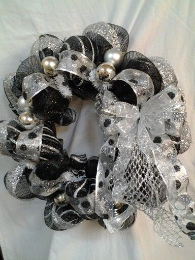black and silver Christmas wreath.