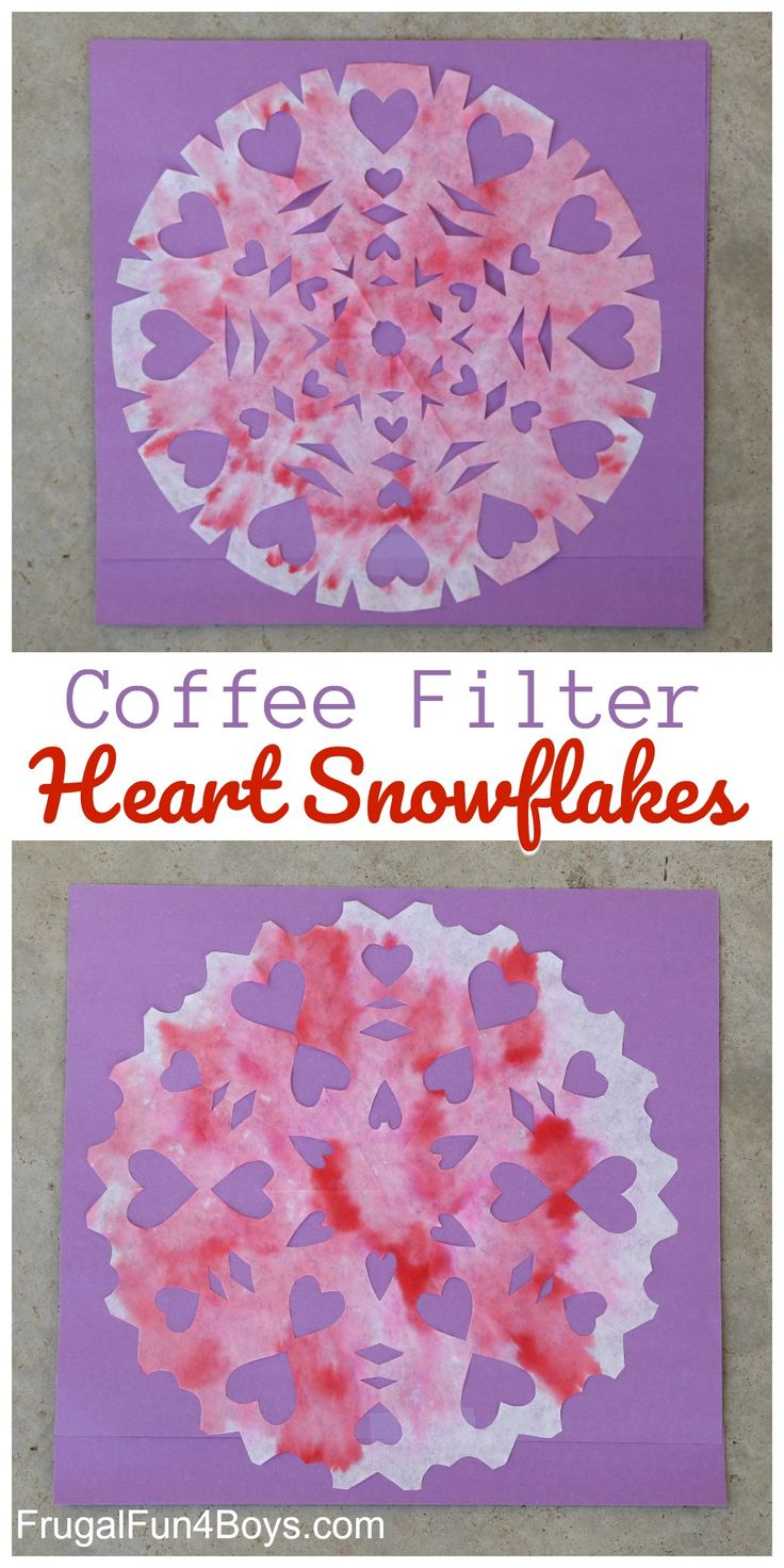 Valentine's Day craft for kids - Make Coffee Filter Heart Snowflakes