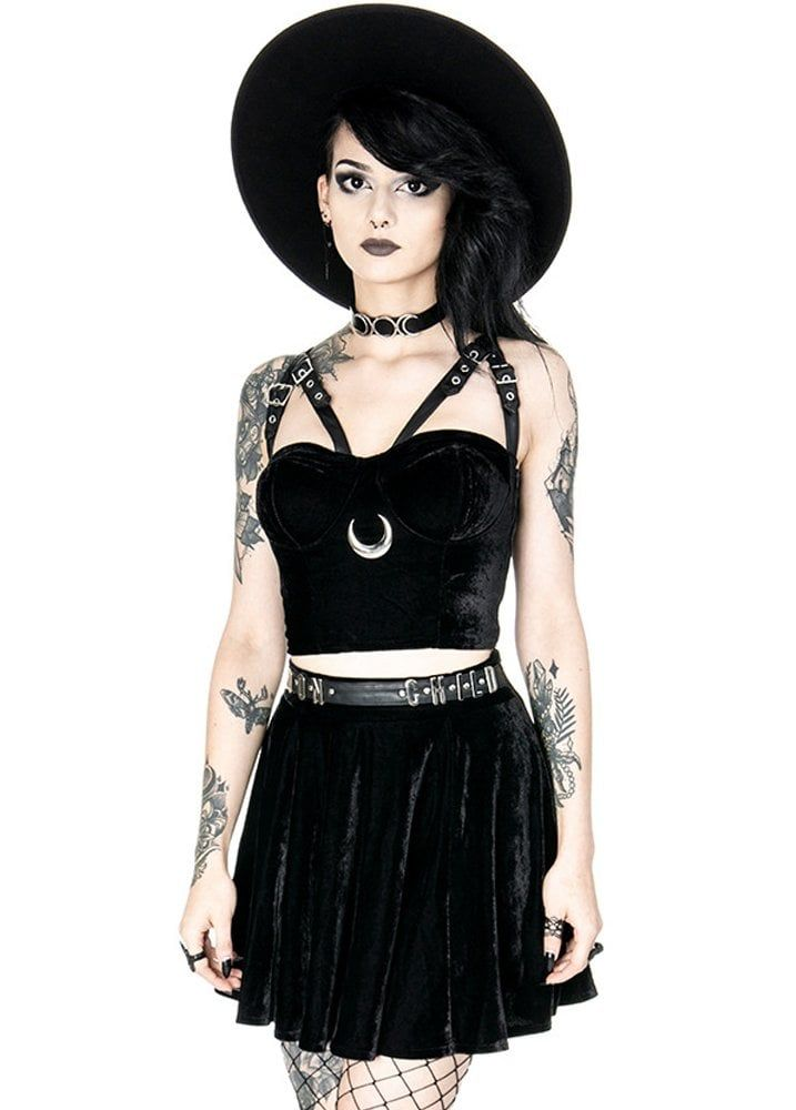 Restyle Black women/'s hoodie with harness PENTAGRAM JUMPER Gothic Fashion