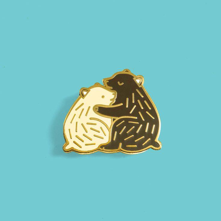 Bear Hug Enamel Lapel Pin / Artist Series Pin by Mila-Made Jamilla Beukema by lostlustsupply on Etsy