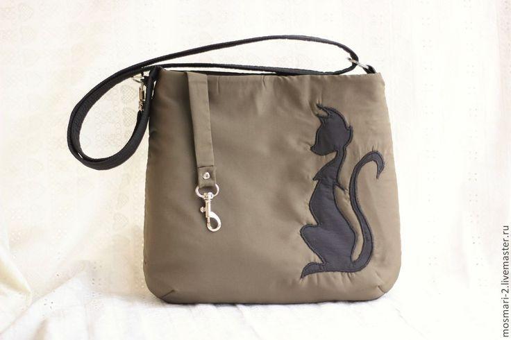 """Купить Сумочка """"Чёрная красавица"""" - хаки, рисунок, кошка, сумка, сумка ручной работы"""