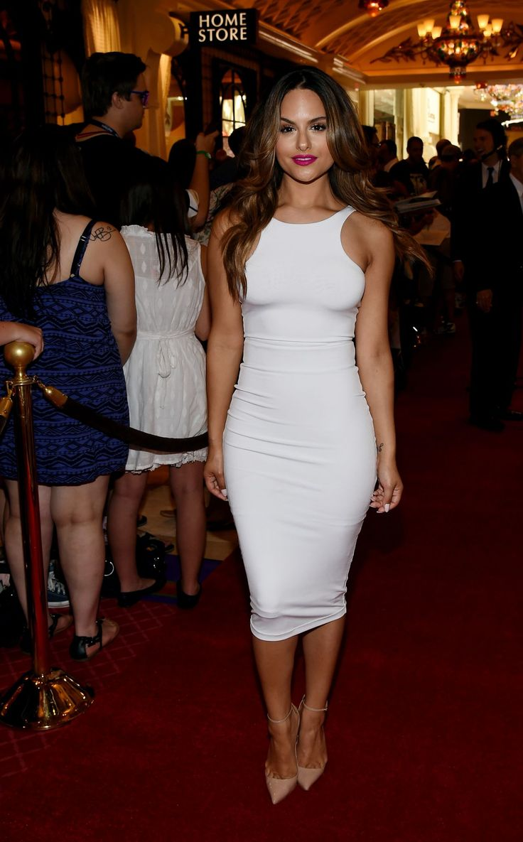 Pia Toscano sizzled in a little hot white dress and nude pumps at the NHL Awards in Las Vegas
