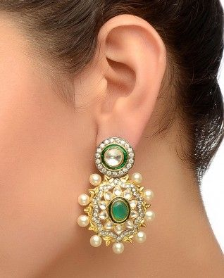 Floral Earrings with Faux Pearls & Kundan Stones