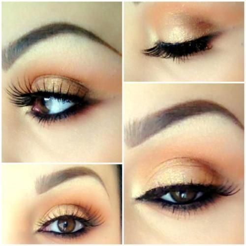 Peach and gold eyes: Eye Makeup, Eye Shadows, Golden Eye, Brown Eye, Eyeshadows, Eyemakeup, Wedding Makeup, Natural Looks, Gold Eye