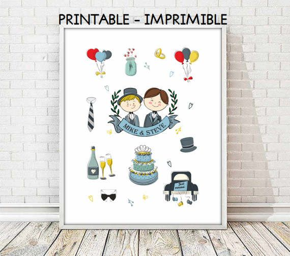 gay couples,gay wedding gift,PRINTABLE,gay engagement, customized gay wedding engagement,gay custom print,5 SIZES INCLUDED