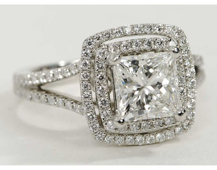Monique Lhuillier Princess Double Halo Engagement Ring in Platinum | Blue Nile.....MY RING but i have cushion cut