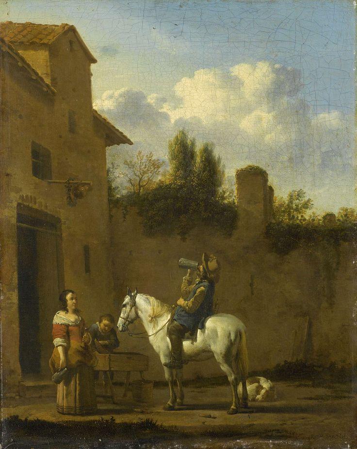 Drinkende trompetter te paard, Karel Dujardin, 1650 - 1660
