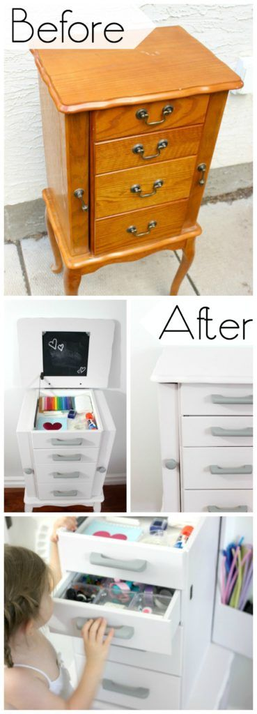Beautiful Jewellery Box makeover to help organize your child's arts and crafts supplies!