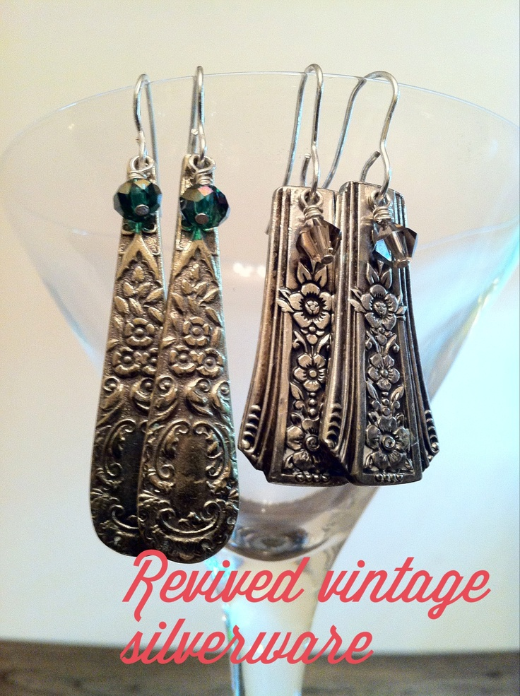 Silverplate flatware earrings with crystal. www.and-then-again.com www.facebook.com/andthenagaindesigns