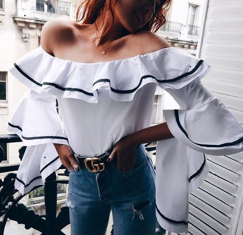 #summer #outfits / peplum off the shoulder top