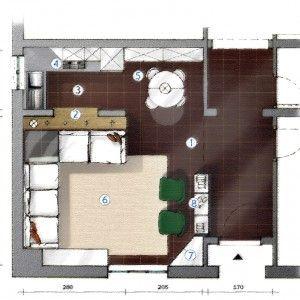 Nel appartamento di 55 mq con tante finestre nella zona giorno, al posto della seconda camera, si è scelto di ricavare la cucina separata dal soggiorno. Ecco la pianta del progetto.