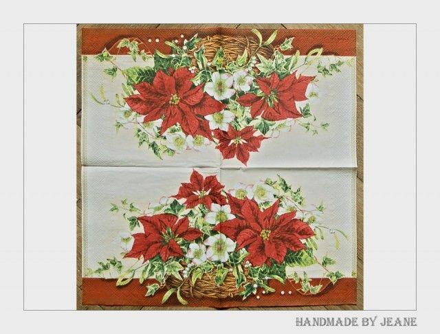 Simira - ubrousek s košíkem vánočních květů - jeane material