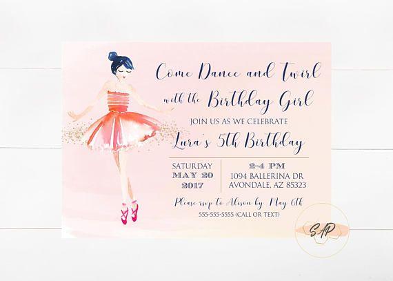 Ballerina Invitation Ballerina Birthday Invitation Ballerina Birthday Girl Birthday Party Ballerina Invitations Birthday Invitations Ballerina Birthday