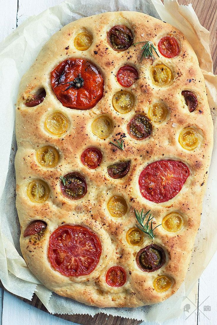 How pretty is this focaccia studded with a rainbow of farmer's market tomatoes?