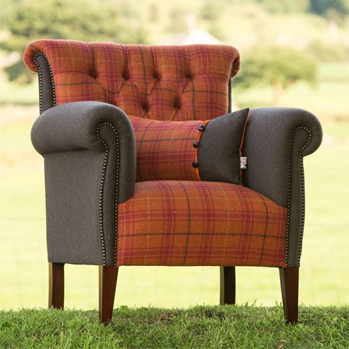 Bespoke Epson Country Style Buttoned Check Armchair