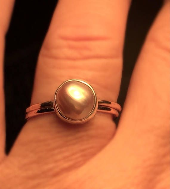 Rosegold skinny girl ring. Blush Gold Pearl ring./Solitare Pearl Ring. Baroque Pearl Ring. Beautifully Handcrafted upcycled blush pearl bezel set and rosegoldfil ring. This unique yet very versatile ring is a size 9 1/2 but is available in any size and is sure to be your go to accessory
