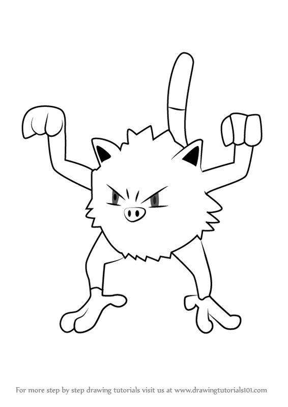 Learn How to Draw Mankey from Pokemon GO (Pokemon GO) Step ...