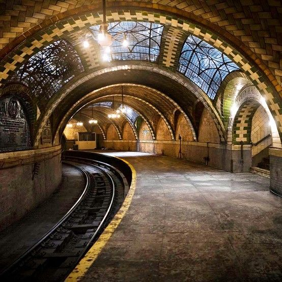 City Hall Subway Station, NYC. Some of these old stations are wonderful. They have also discovered another subway line in the city that was powered by forced air. The uncovered stations were taken apart and many parts sold.