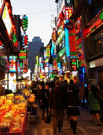 Google Image Result for http://www.kentlaw.iit.edu/Images/Departments/International/seoul.jpg  One of the many shopping districts in Seoul, South Korea - did some damage here - 3 days with nothing else to do!