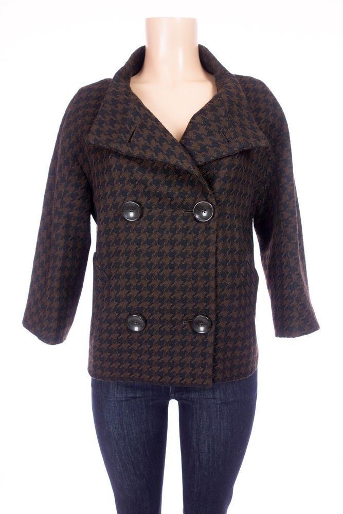 MAX MARA Houndstooth Peacoat 12 L Black Brown Wool Cashmere Breasted Jacket #MaxMara #Peacoat #Outdoor