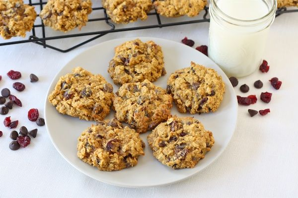 pumpkin oatmeal cookies with dried cranberries and chocolate chips - very delish! needed to bake closer to 15 min though than 12 min