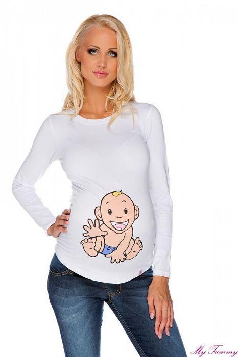 """Těhotenské tričko """"Chlapeček"""" bílé - My Tummy - Luxusní, elegantní a praktické oblečení pro těhotné a kojící ženy"""