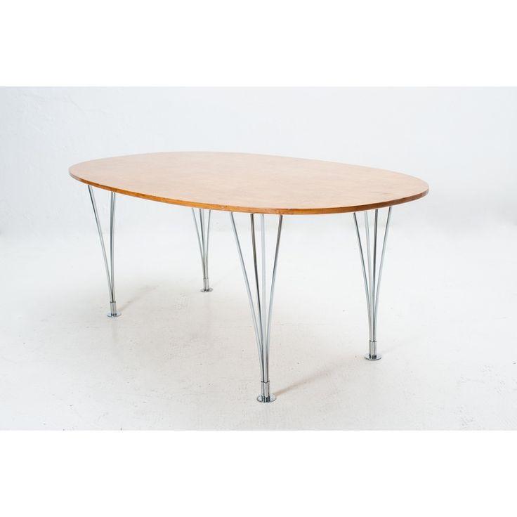Tavolo da salotto Elliptical marrone in legno e acciaio by Piet Hein, Bruno Mathsson per Fritz Hansen Danimarca 1968