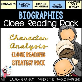 CLICK HERE to see how to assemble the close reading foldables to target the 4 phases of close reading: -What does the text say?-How does the text work?-What does the text mean?-What does the text inspire me to do?This 87 page nonfiction biographies close reading strategy pack is loaded with relevant biographies, written comprehension questions, graphic organizers, and high order thinking questions!