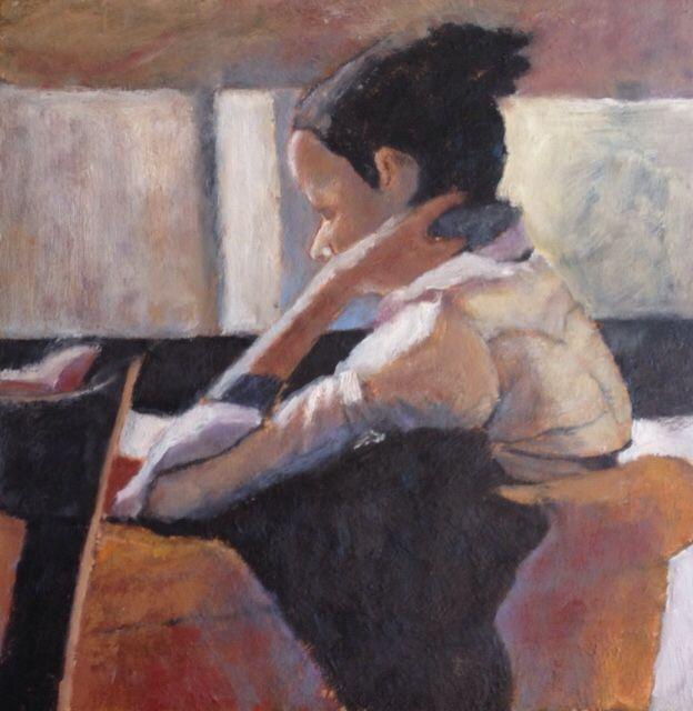 Reading, oil on canvas, 40cm x 40cm.