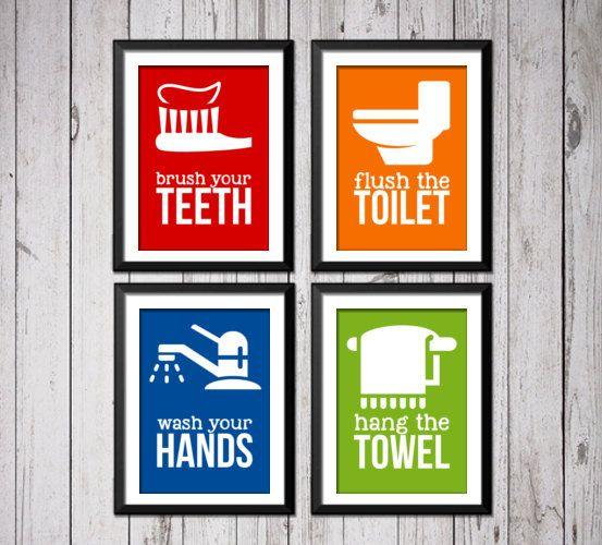 Kids Bathroom Art Prints, Kids Bathroom Prints, Bathroom decor, Wash flush floss Bath Art, Bath Art Print,  Flush Wash Hang, bathroom rules