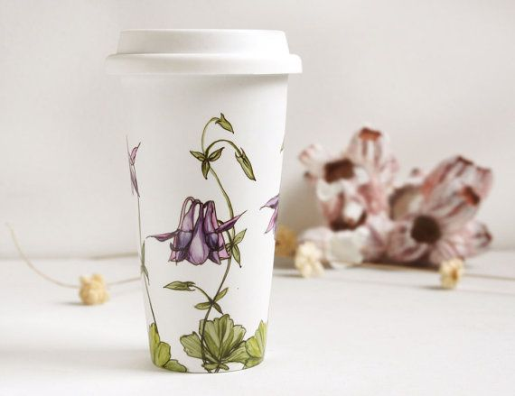 White Ceramic Eco Cup - Columbine, Botanical Collection - made to order