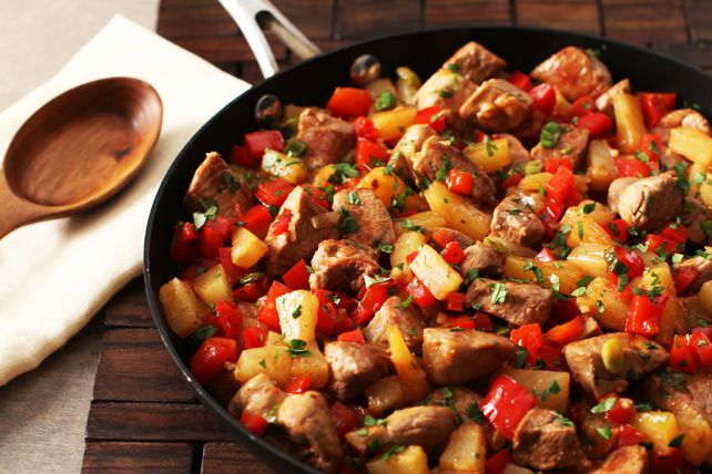 Bite-sized pieces of skillet-cooked pork tenderloin get a sweet and tangy kick with a splash of BBQ sauce and pineapple tidbits.