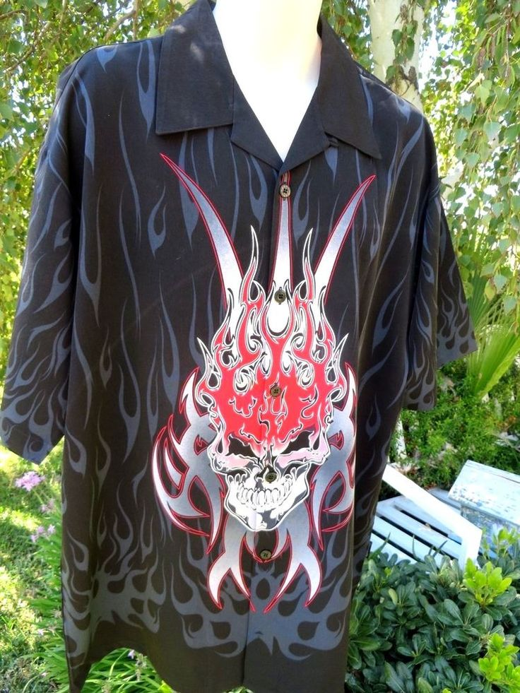DRAGONFLY SHIRT XXL 2 XL Black Red BOGGIE MAN PG-325 Skull Flame Tribal NWT #Dragonfly #ButtonFront