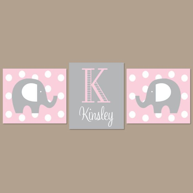 Light Pink Gray Nursery Elephant Nursery Wall Art Elephant Nursery Decor Girl Nursery Decor Elephant Baby Shower Set of 3 Prints Or Canvas