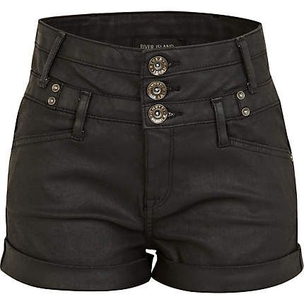 Black high waisted shorts - denim shorts - jeans - women