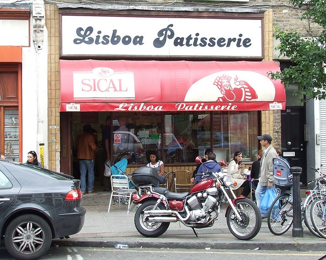LISBOA CAFE GOLBORNE ROAD by A30yoyo, via Flickr (croissant with ham & or cheese, coffee in a glass and pasteis de nata, hmmm!)
