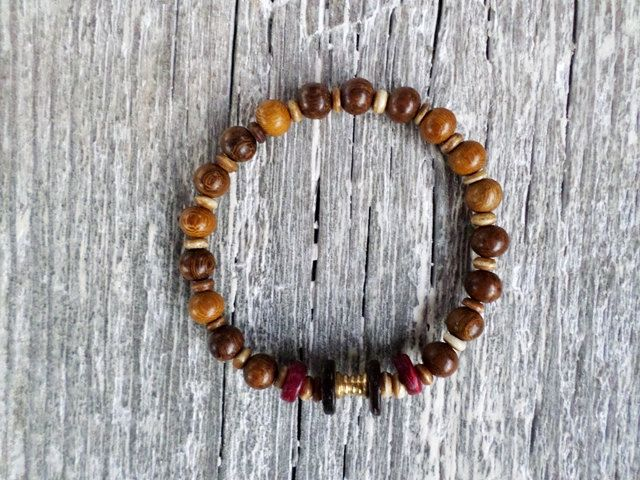 Mens or women natural Robles Wood Round Beads  stretch bracelets by EmilDesign on Etsy
