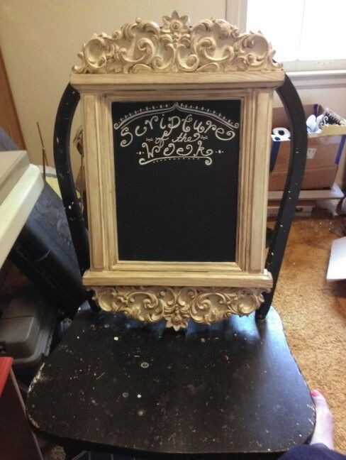 Refurbished mirror to chalkboard for our family worship night.