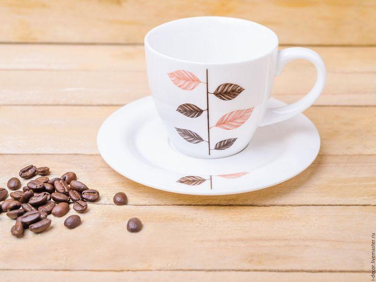 Купить Чайная пара 200мл из коллекции Стебель. Чашка в подарок. - белый, чайная пара, чашка